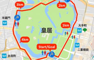 皇居ランニングの水飲み場マップ