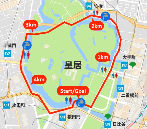 皇居ランニングのトイレ・水飲み場マップ